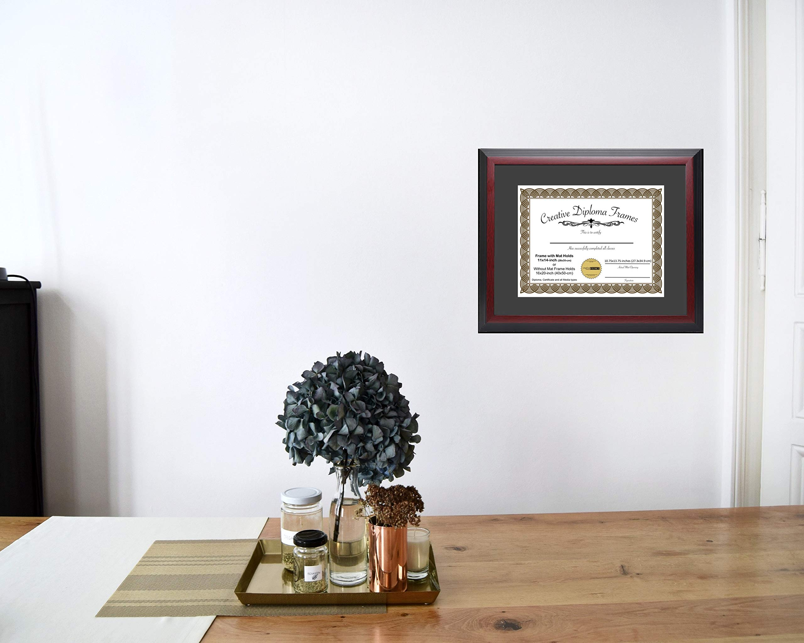 CreativePF [1114-1620mh] Large Mahogany Diploma Frame with Black Mat Holds 11x14-inch Documents with Glass and Installed Wall Hanger by Creative Picture Frames (Image #3)