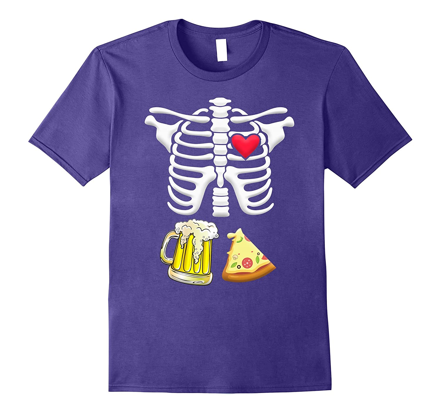 Beer and pizza Pregnant Skeleton Halloween Shirt-FL