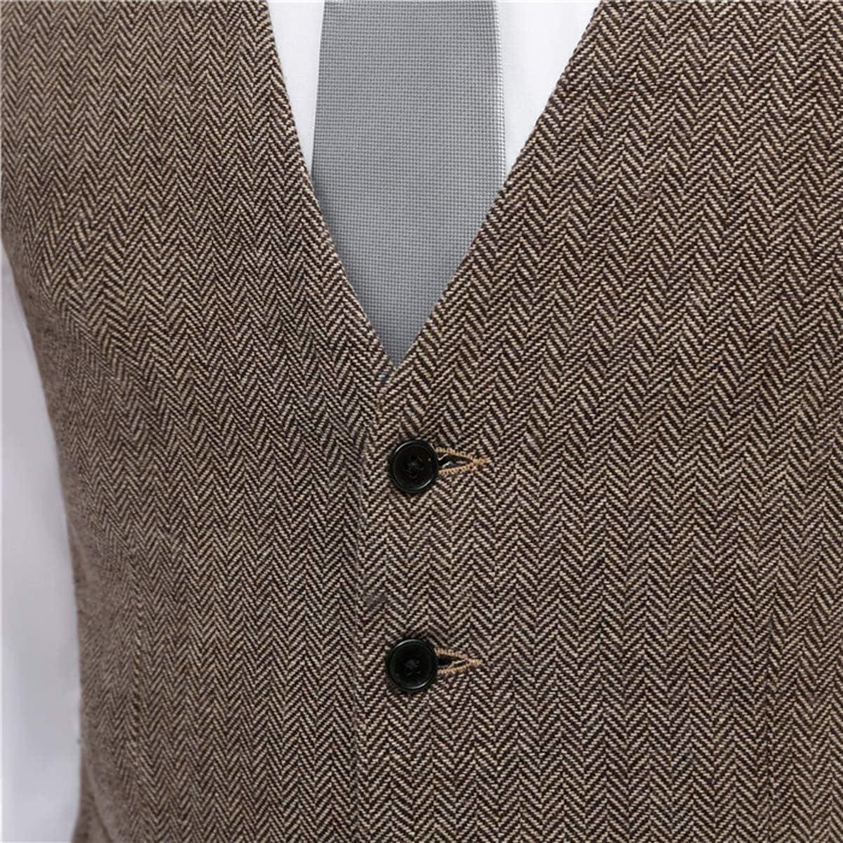 LoveeToo Mens Slim Fit V-Neck Vest Casual Waistcoat Business Suit Vest Wedding Dress Waistcoat