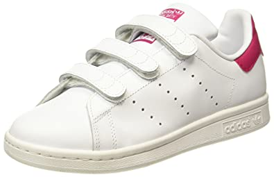 adidas Originals Boy's Stan Smith Cf J Ftwwht/Ftwwht/Bopink Leather Sneakers - 4