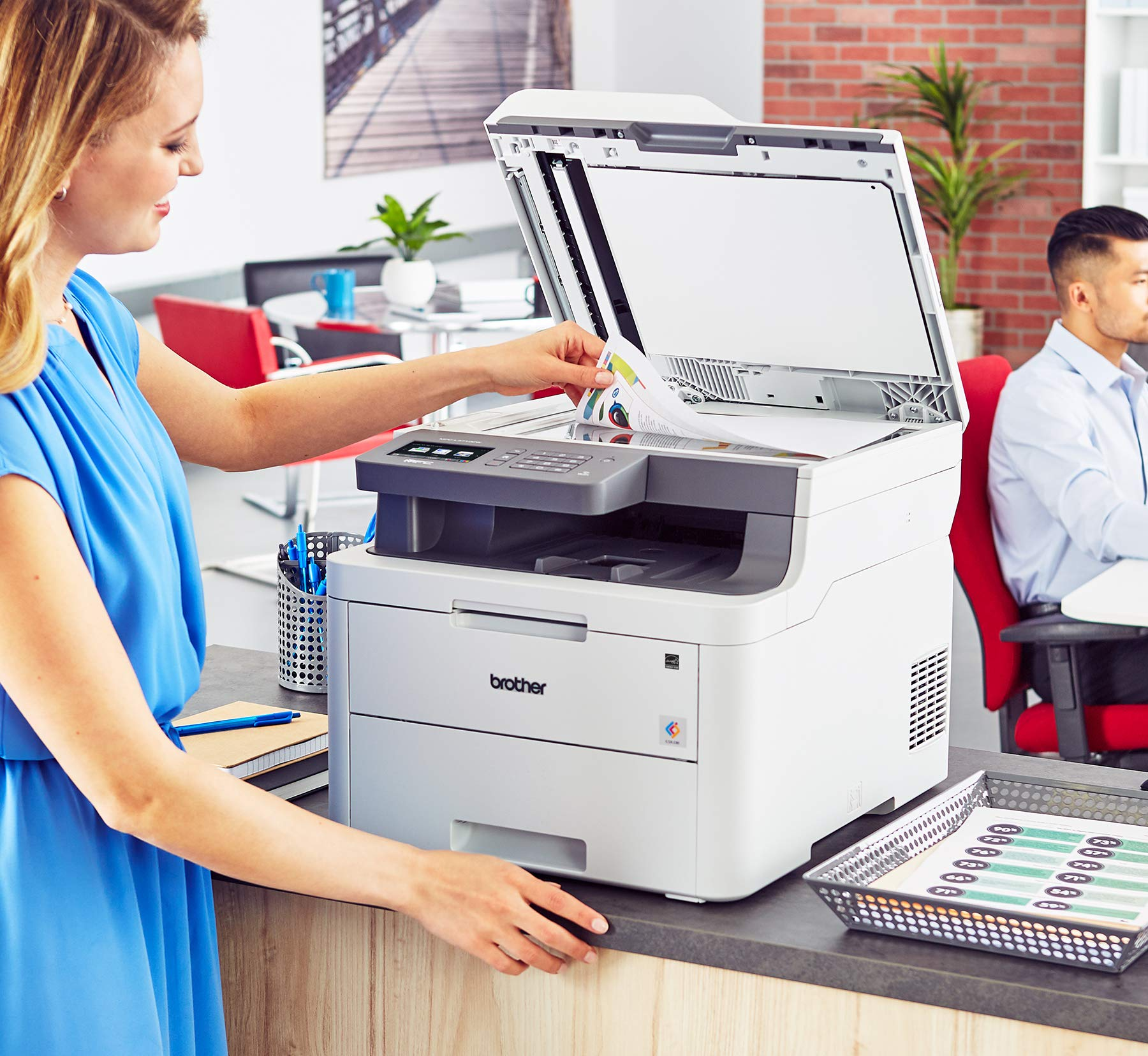 Brother MFC-L3710CW Compact Digital Color All-in-One Printer Providing Laser Printer Quality Results with Wireless, Amazon Dash Replenishment Enabled by Brother (Image #6)