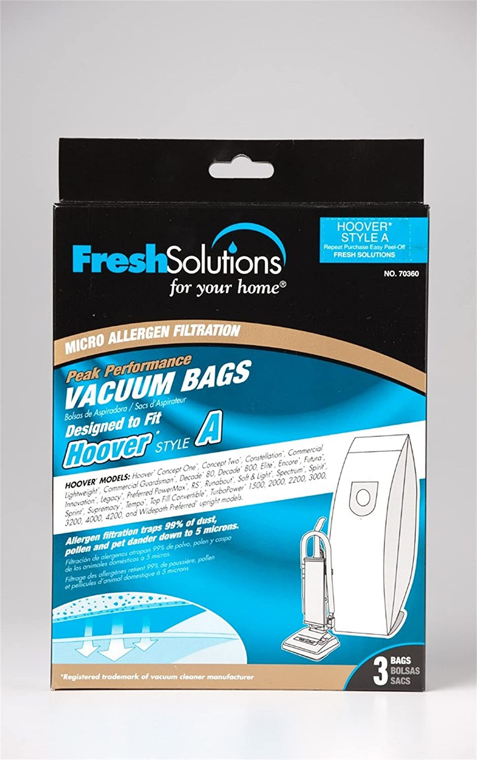 Amazon.com : Hoover 70360 Hoover A / Bissell Style 2, Micro Filtration Vacuum Bags, Qty 3 : Household Vacuum Bags Upright : Garden & Outdoor