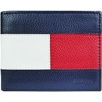 Tommy Hilfiger Men's Slim Leather Bifold Wallet Flag Design, Blue/White/Red