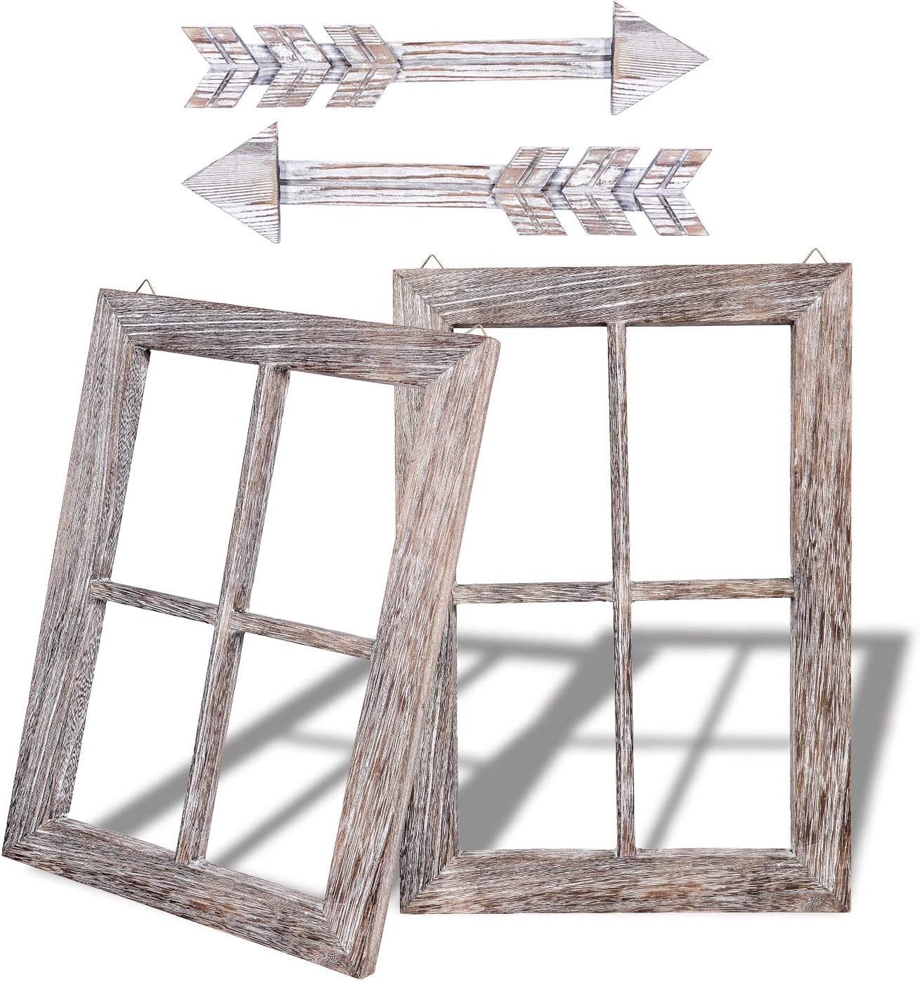 Rustic Wall Decor Wood Window Frames & Arrow Decor - FarmhouseDecoration for Home (11X15.8 inches, 2set)