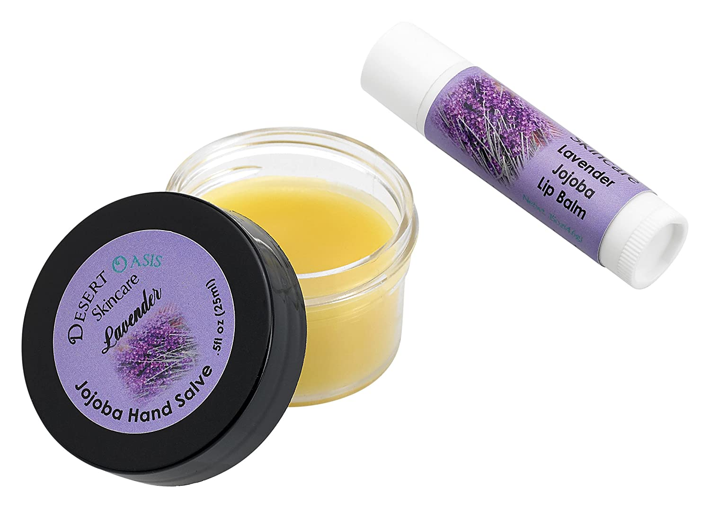 Jojoba Oil Lavender Travel Size Hand Salve and Lip Balm, all natural, cold pressed jojoba oil, mildly scented with Lavender, Salve (0.5 oz/14 gm) Lip balm (.15 oz/4.6 gm) 2 units Desert Oasis Skincare