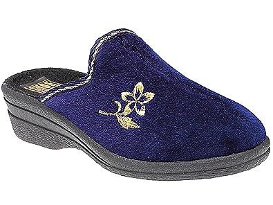 Ladies Fleece Helen Comfort Warm Velour House Slip On Wedge Mules Slippers  Shoe Navy 3 UK