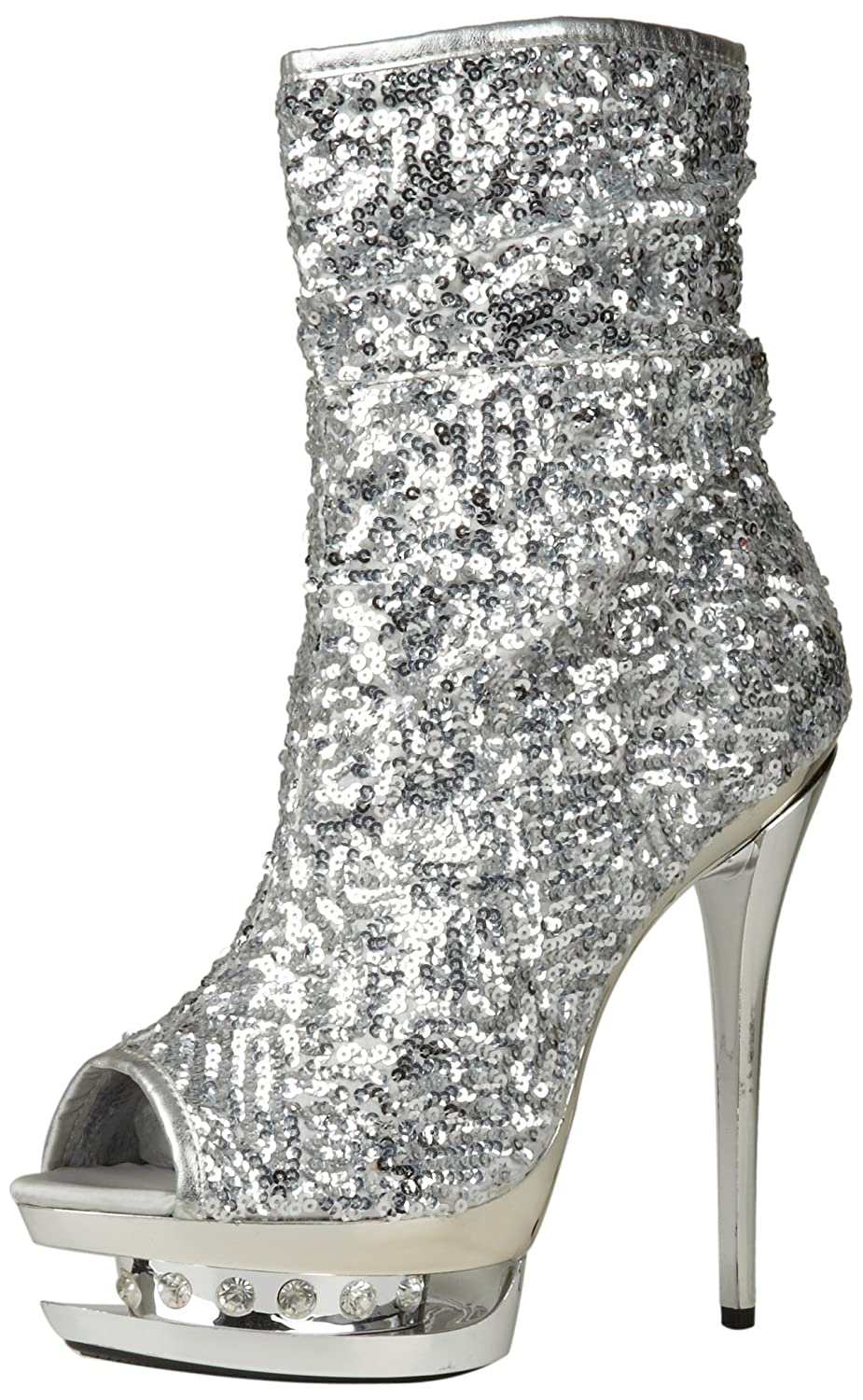 The Highest Heel Women's Diamond-31 Boot B0053OBE94 7 B(M) US|Silver Sequins