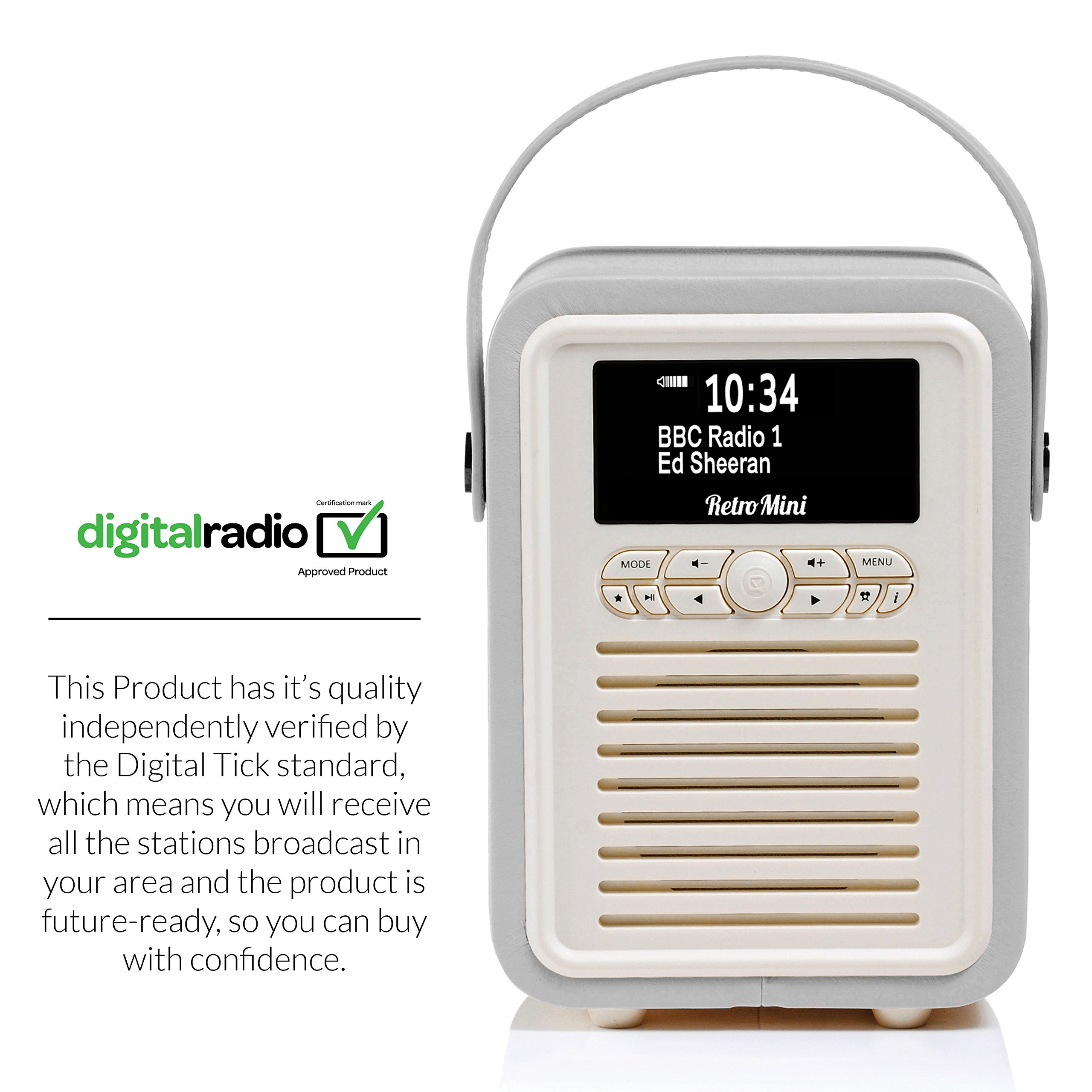 Retro Mini by VQ   Radio & Bluetooth Speaker with AM/FM & HD Radio, Dual Alarm Clock Mains or Battery – Premium PU Leather Case Light Grey by VQ (Image #3)