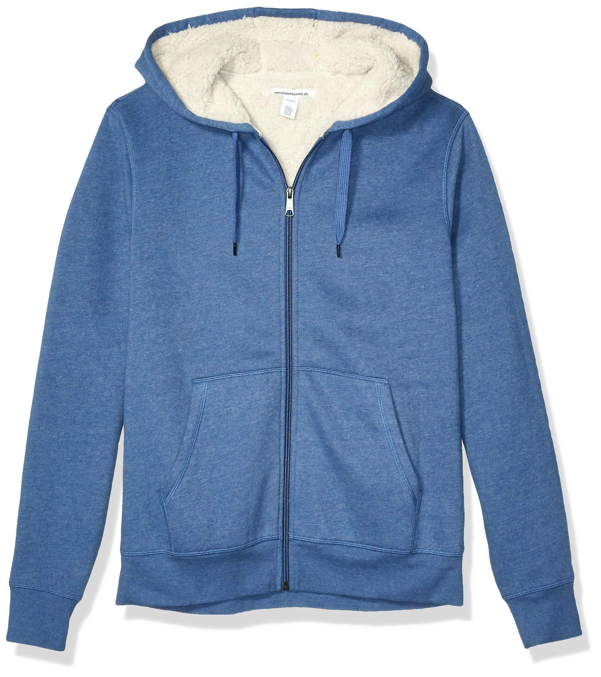 Amazon Essentials Men's Sherpa Lined Full-Zip Hooded Fleece Sweatshirt, Blue Heather, X-Large by Amazon Essentials