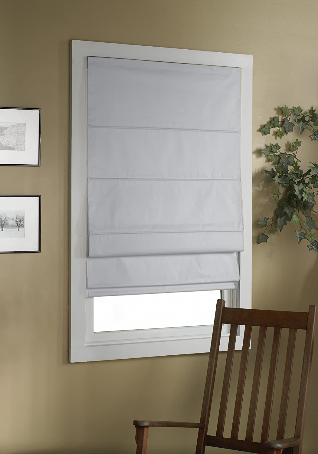 Green Mountain Vista Thermal Blackout Cordless Roman Shade, 34 by 63-Inch, White