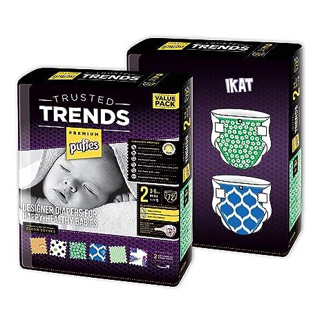 Paquete de pañales para bebé con diseños Pufies Trusted Trends Ikat - 144 pañales estampados de