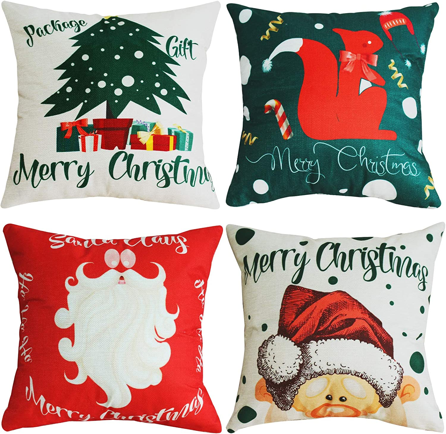 Christmas Decorations Pillow Covers 18x18Inch,Set of 4,Farmhouse Decor Throw Pillow Cases,Natural Burlap, Merry Christmas Tree,Cute Santa Squirrel,Home Decoration