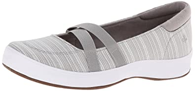 Grasshoppers Women's Juniper Mary Jane Slip-On Flat,Light Gray,6 ...
