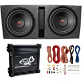 """2) Pyle 15"""" PLPW15D Subwoofers + Vented Box + Lanzar 2 Channel Amp + Wiring Kit"""
