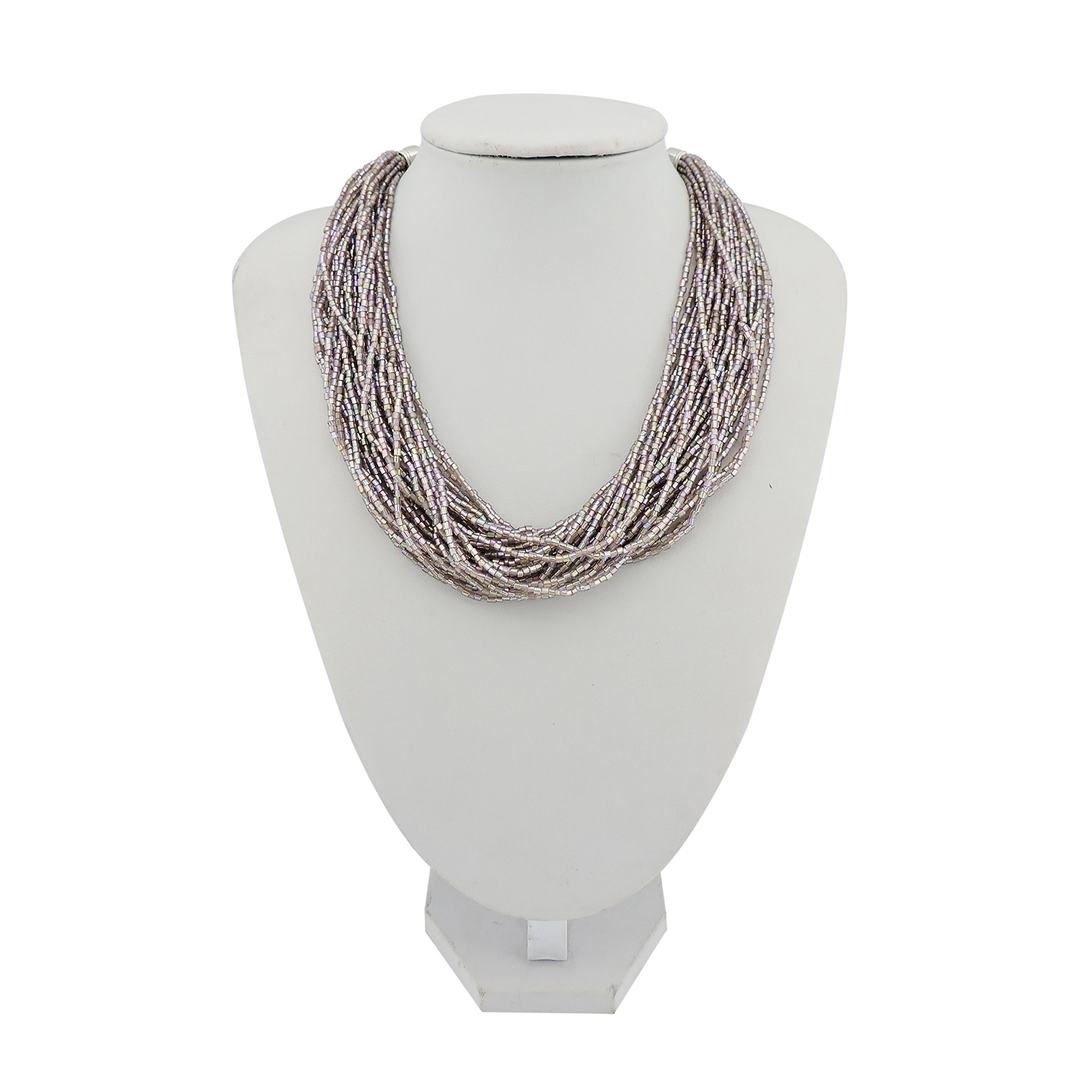 Bocar Multiple Strand Handmade Beaded 16'' Statement Collar Necklace for Women with Gift Box (NK-10402-AB purple)