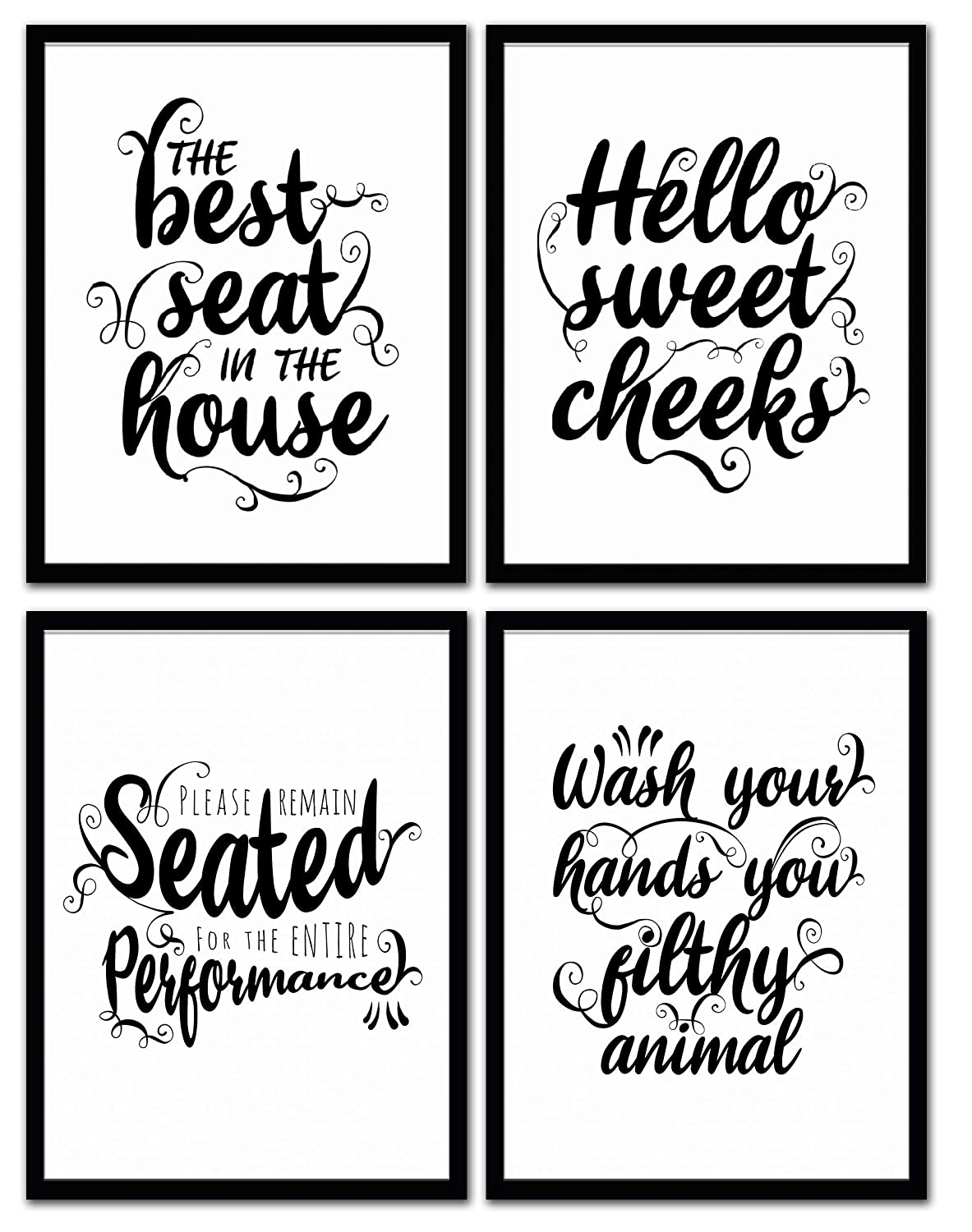 Funny bathroom signs for home decor set of 4 6 designs available these unframed bathroom wall art quotes have photo lab quality great for