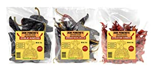 Don Poncho's - Dried Chili Pepper 3 Pack Bundle - Guajillo Chiles, Chile Ancho, & Chile de Arbol - 12 oz Total Weight - Product of Mexico