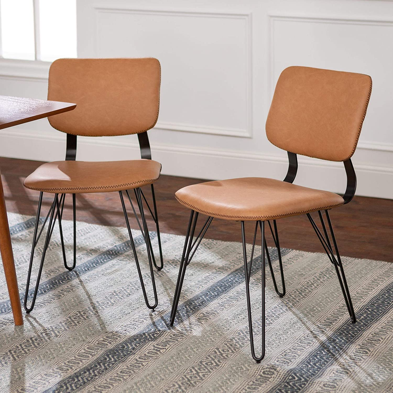 WE Furniture Mid Century Modern Accent Tan Dining Chair Set of 2 for Kitchen Caf Upholstered Cushion Seat