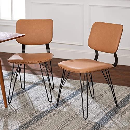 Walker Edison Industrial Modern Faux Leather and Metal Armless Dining Chairs Kitchen, Set of 2, Tan
