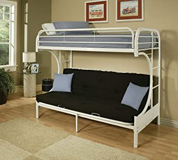 Acme Furniture Eclipse Twin/Full Futon Bunk Bed (White)