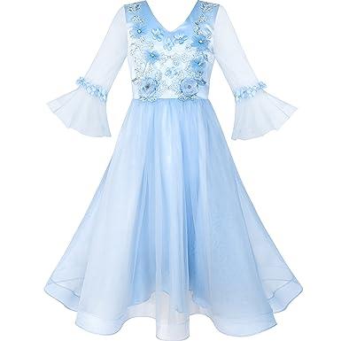 b3c94a9750db0 Sunny Fashion Robe Fille Fleur Bleu Cloche Manches Mariage Demoiselle  d honneur 10 Ans