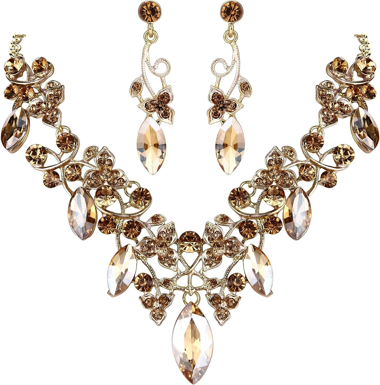 Clearine Mujer Bohemio Cristal Flor Viene Foliáceo Collar de Plastron Dangle Pendiente Elegante Conjunto Regalo Navidad Aguinaldo