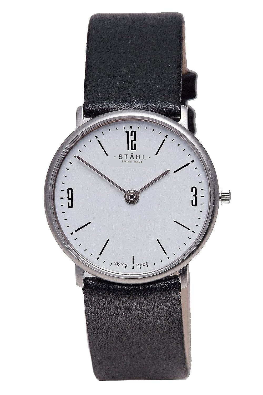 Stahl Swiss Made Armbanduhr Modell: st61339 – Edelstahl – mittlere 30 mm Fall – Arabisch und Bar weiß Zifferblatt