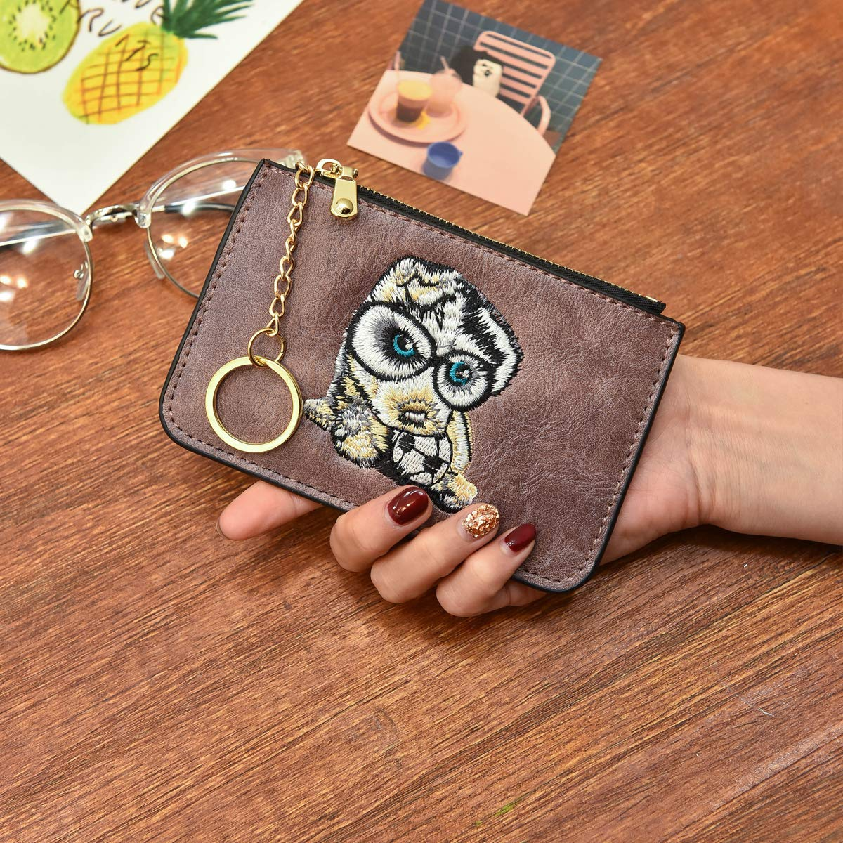 AnnabelZ Women's Coin Purse Change Wallet Embroidery Pouch Leather Card Holder with Key Chain Zip (Z-Purple Embroidery) by AnnabelZ (Image #2)