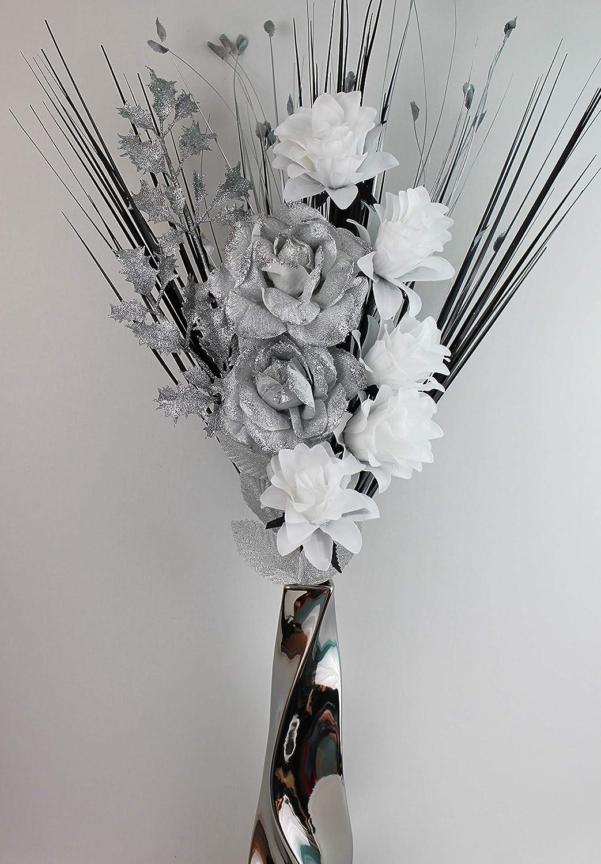 Herbes dans Un Vase chrom/é argent/é SIMPLY GIFTS Fleurs artificielles en Soie Blanche et argent/ée