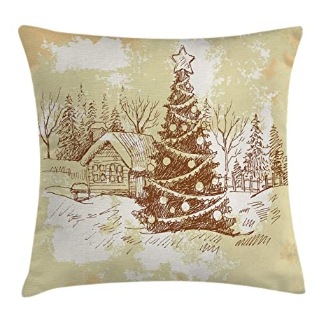 100% True Christmas Decorative Cushion Cover Elk Snow Landscape Christmas Throw Pillow Case Sofa Bed Cushion Cover Home Decor Pillow Case Home Textile