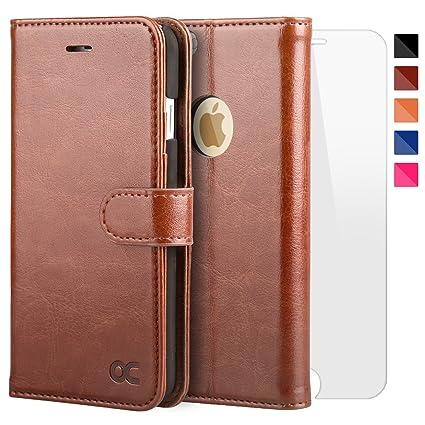 OCASE iPhone 6 Hülle Handyhülle iPhone 6S [ Gratis Panzerglas Schutzfolie ] [Premium Leder] [Standfunktion] [Kartenfach] [Mag