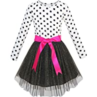 Sunny Fashion Girls Dress Long Sleeve Tutu Skirt Bow Tie Party Size 6-12 Years