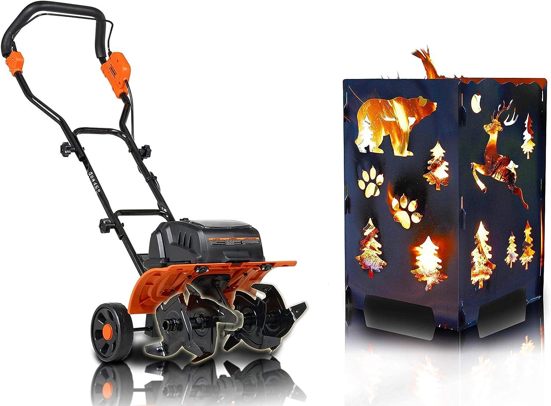 SuperHandy Tiller Cultivator Rototiller Electric & California Bear/X-Mas Tree Fire Box [Summer Bundle Deal]