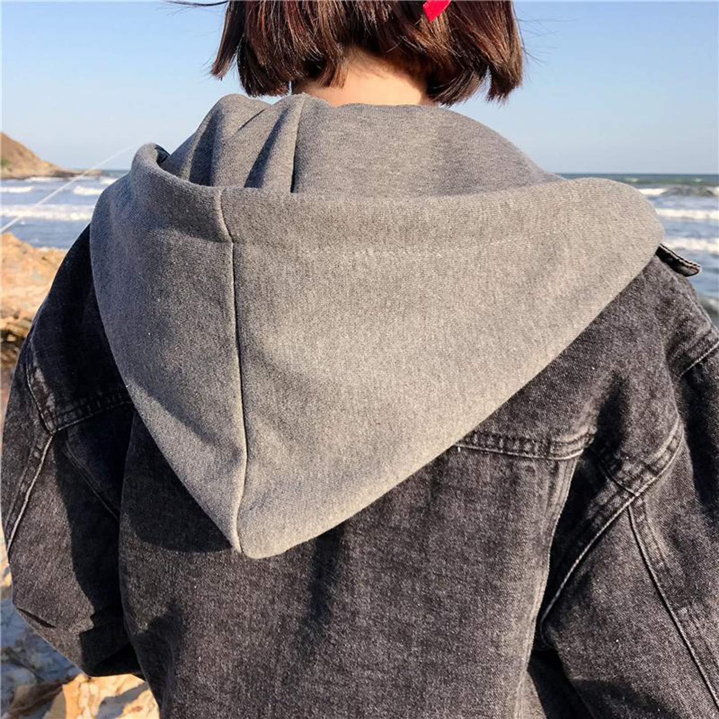4c1697baff90 Gihuo Womens Oversized Loose Boyfriend Denim Jacket Hooded Jean Jacket