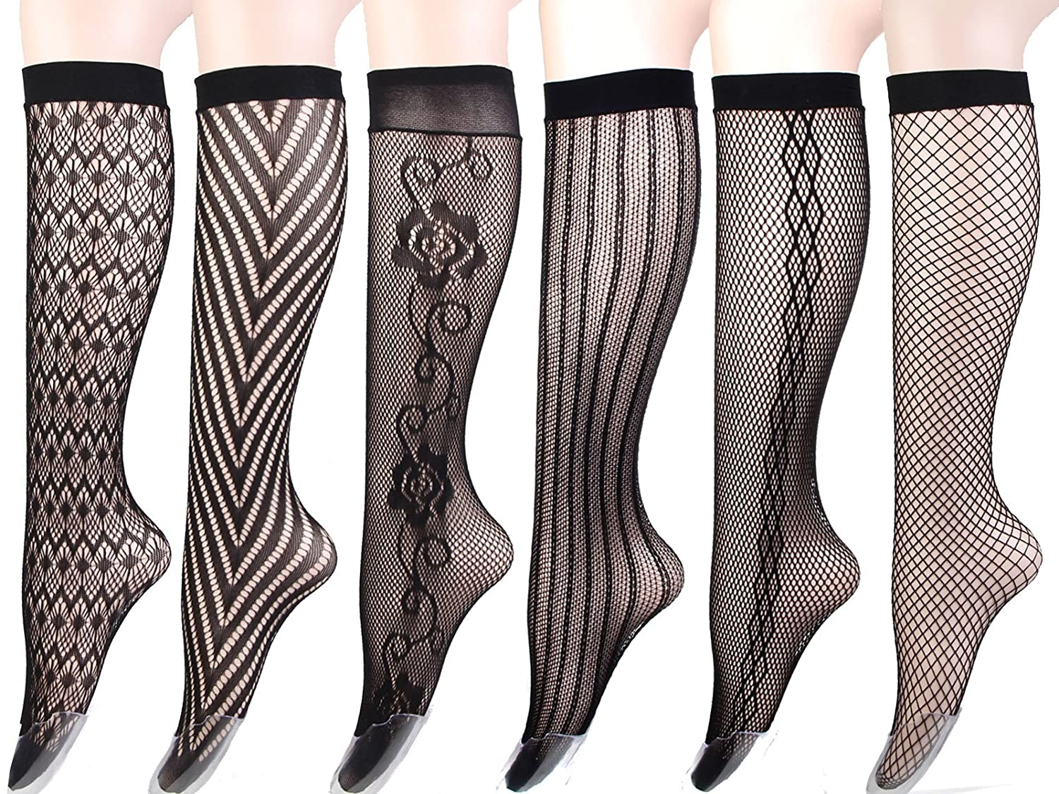 5e72fa34f Women s Stay Up Knee High Patterned Trouser Socks Fishnet Stockings Black 6  Pairs  Amazon.ca  Clothing   Accessories