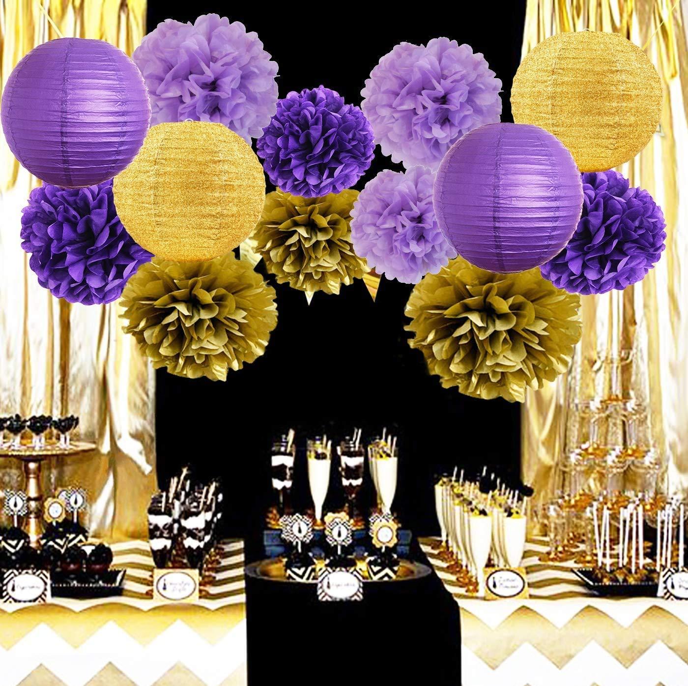 Furuix Purple Gold Birthday Party Decorations Glitter Gold/Purple Paper  Lanterns Tissue Paper Pom Poms Purple Birthday/Baby Shower/Bridal