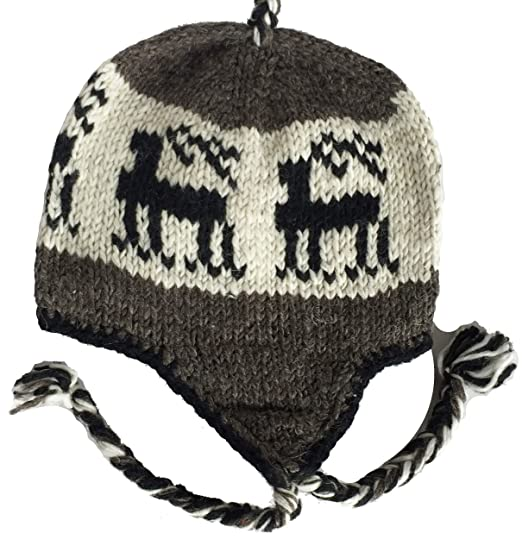 c8c2843e3eb Wool Winter Chullo Beanie Fleece Lined Toque Cap Ear Flaps Sherpa Peruvian (Black  Reindeer White   Dark Grey) at Amazon Men s Clothing store