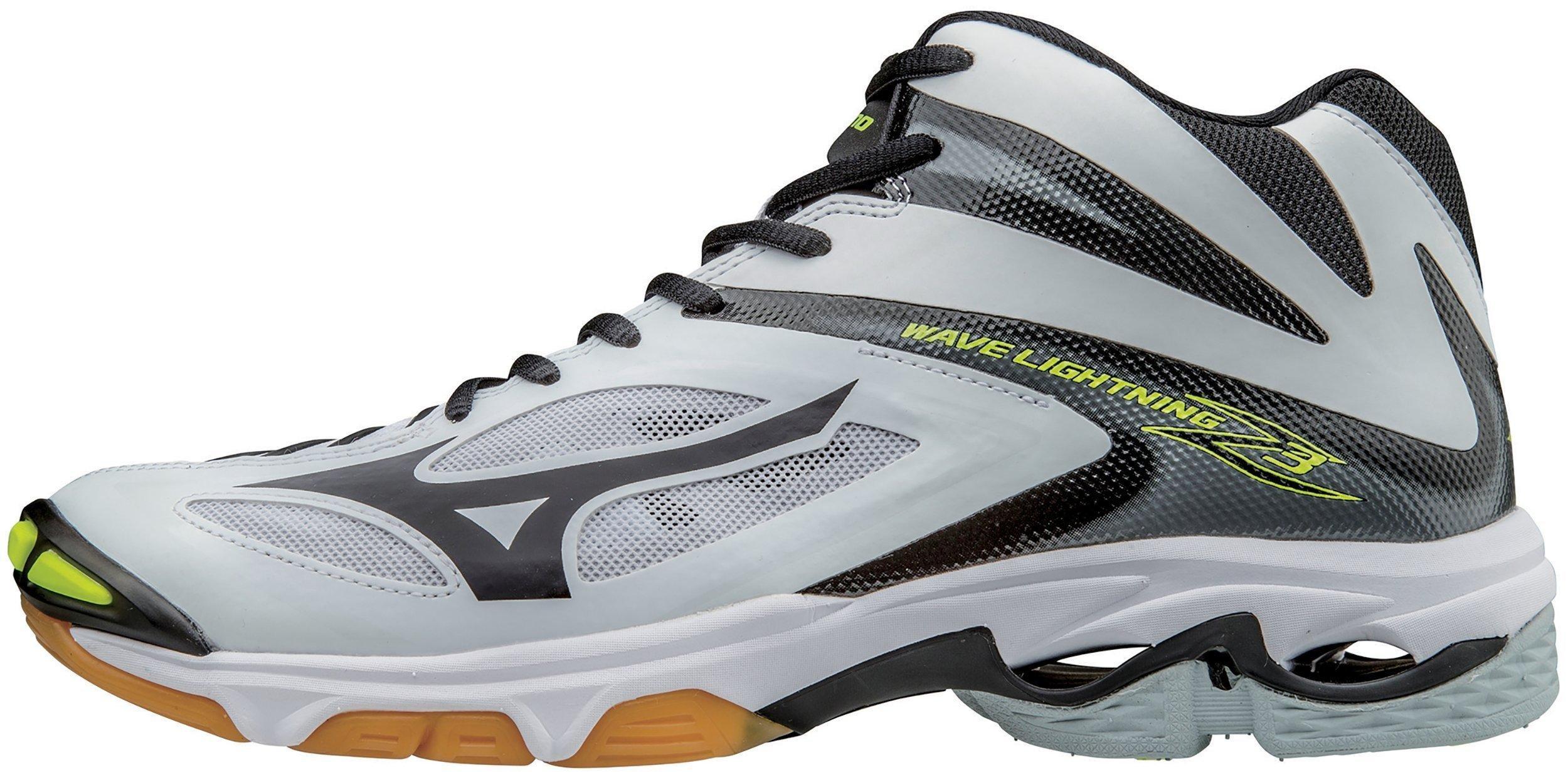 Mizuno Men's Wave Lightning Z3 Mid Volleyball Shoe, White/Black, 16 D US