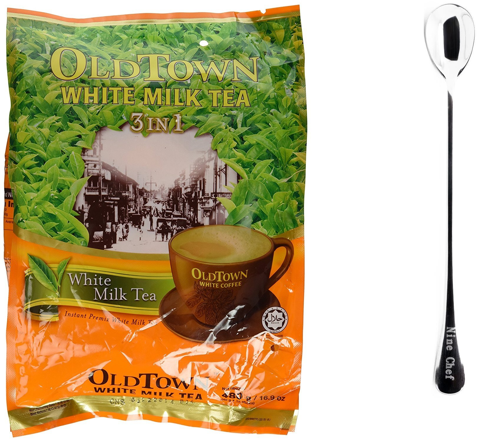 One NineChef Spoon + Old Town White Coffee (3 In 1 White Milk Tea, 6 Bag) by NineChef