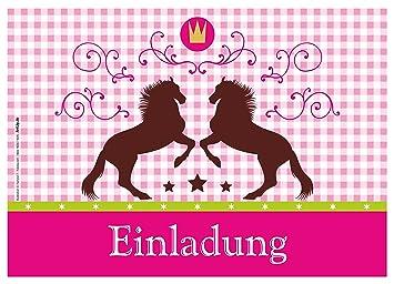 12 Einladungskarten U0026quot;Pferde / Karo / Pink Rosau0026quot; Oktoberfest /  Geburtstagseinladungen Einladungen Kindergeburtstag