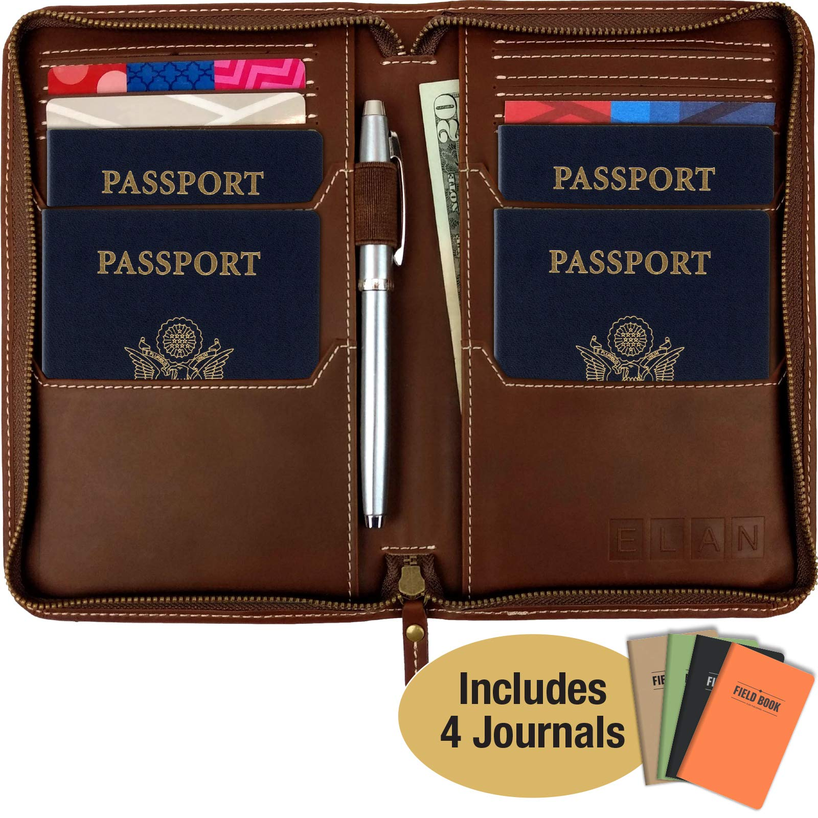 Leather Travel Wallet & Passport Holder: Passport Cover holds 4 Passports, Credit Cards, ID, Travel Journals and Document Holder. BONUS: Includes a set of 4 Travel Journals / Notebooks. by Excello Global Products