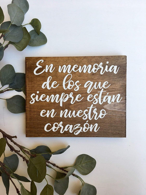 Olga212Patrick En Memoria Sign Rustic Wood Sign Spanish Wedding Sign Woodland Wedding Sign Wood Wedding Sign Wedding Memorial Sign Latino Wedding