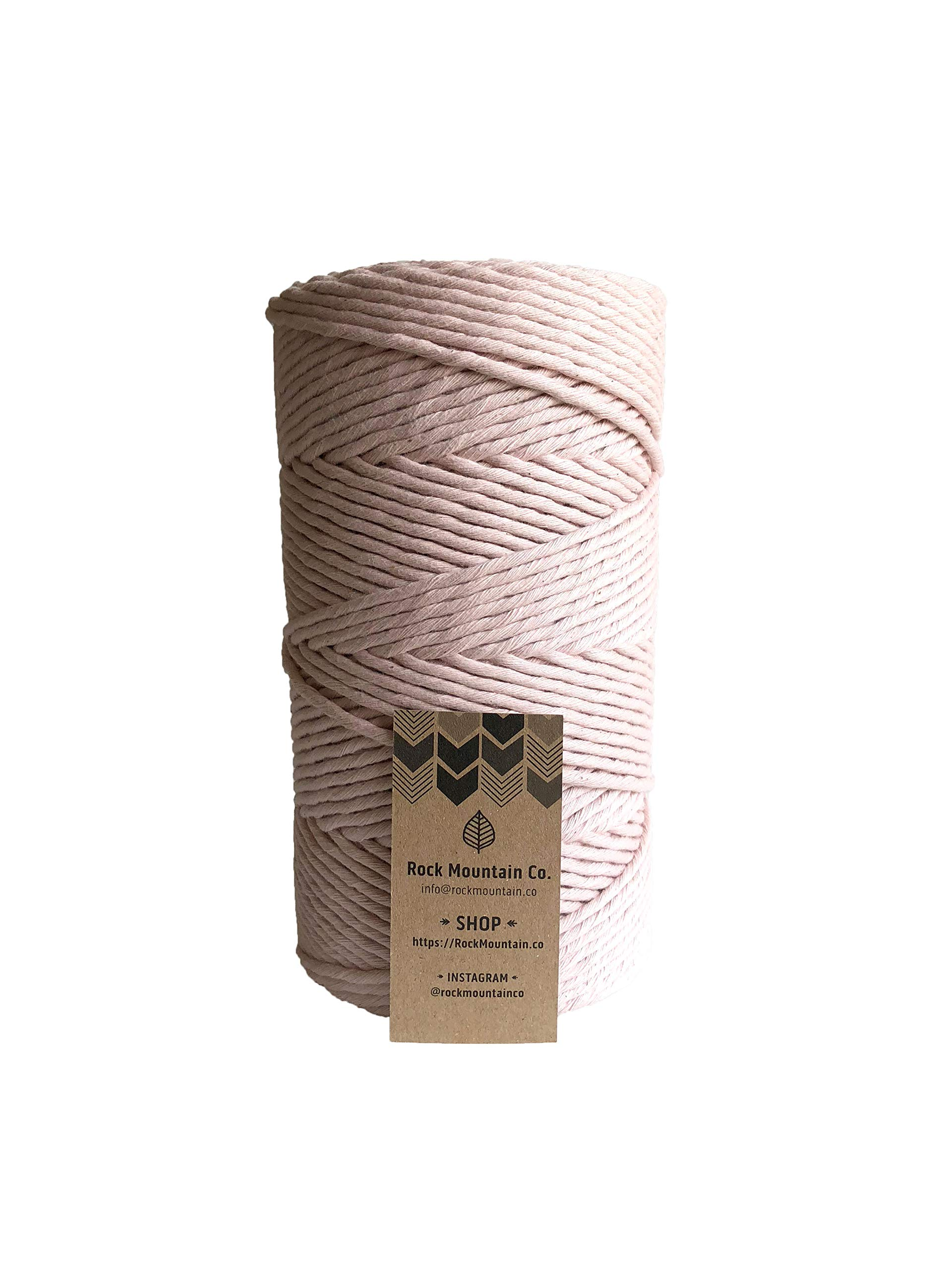 Light Pink Macrame Cord / 4mm Single Strand Cotton Fiber Art Rope/Cotton Candy
