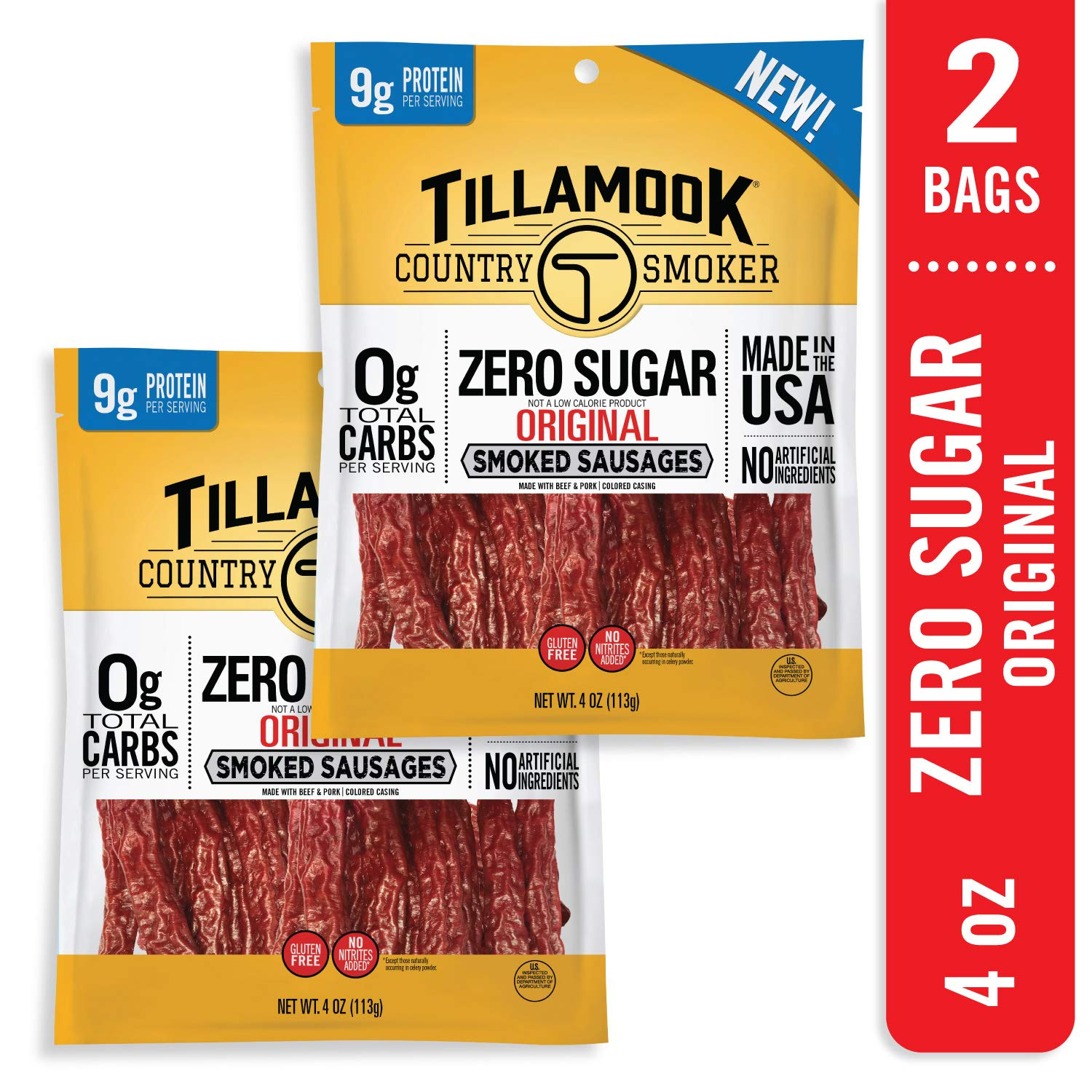 Tillamook Country Smoker Zero Sugar Original Keto Friendly Smoked Sausages 2-pack, 8oz
