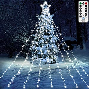 "Christmas Lights Fairy, Angela&Alex 372 LED 9 X 12 Ft Lights with 12"" Lighted Topper Star for Outdoor Christmas Decorations 8 Lighting Modes Party Seasonal Light Plug Remote Control Garden Patio Decor"