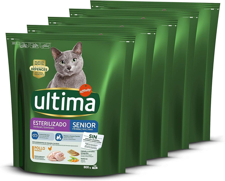 ultima Pienso para Gatos Esterilizados Senior con Pollo, Pack de 5 x 800gr - Total: 4 kg