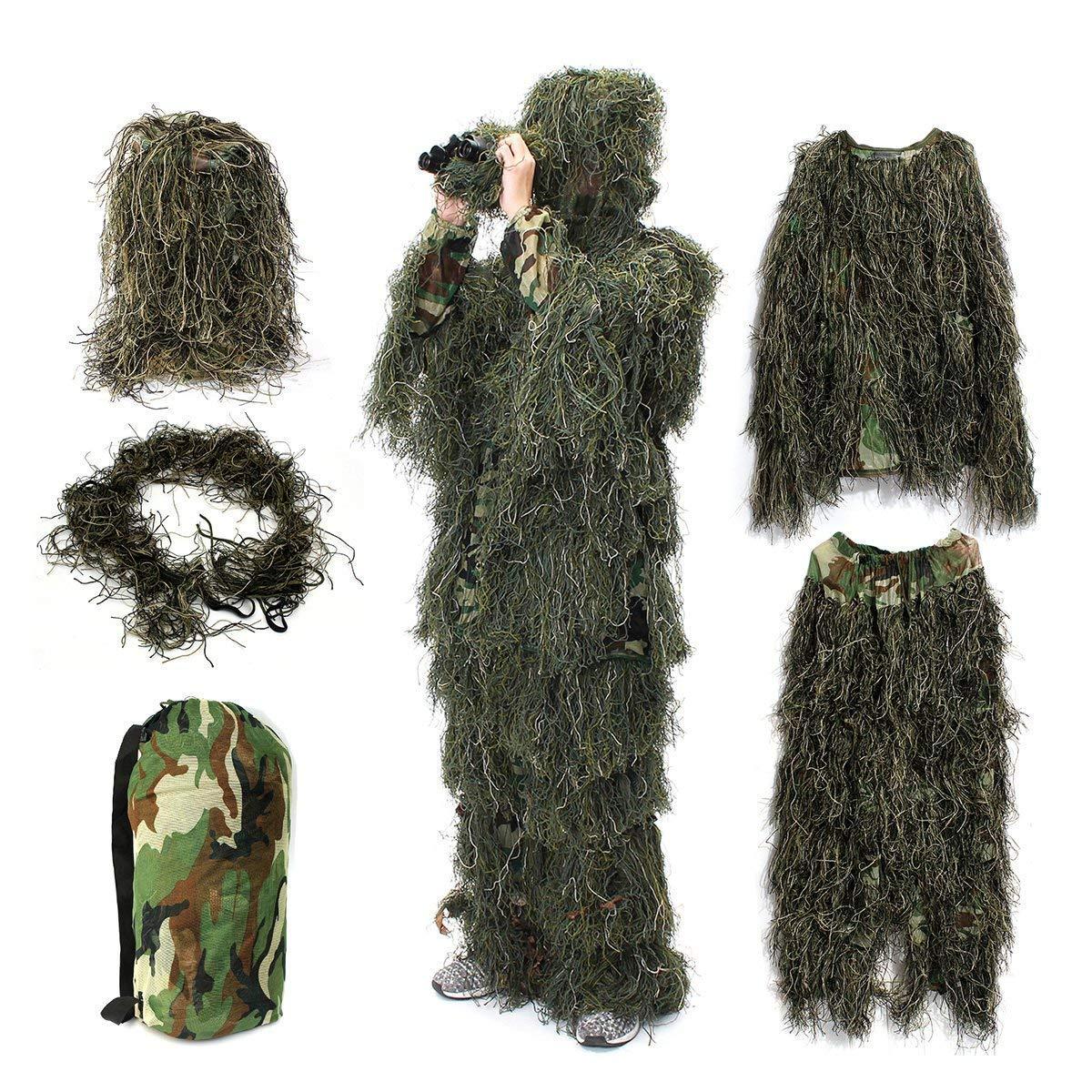 HaoFst Uniforme de Camouflage pour Enfants Ghillie Suit Camo Woodland For/êt Camouflage Chasse 4 Piece Sac