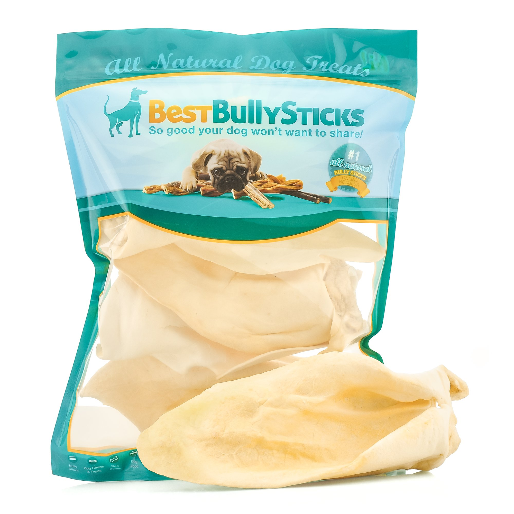 Best Bully Sticks Mega Prime Thick-Cut Cow Ear Dog Chews by (5 Pack) Sourced From All Natural, Free Range Grass Fed Cattle with No Hormones, Additives or Chemicals - Hand-Inspected USDA/FDA Approved