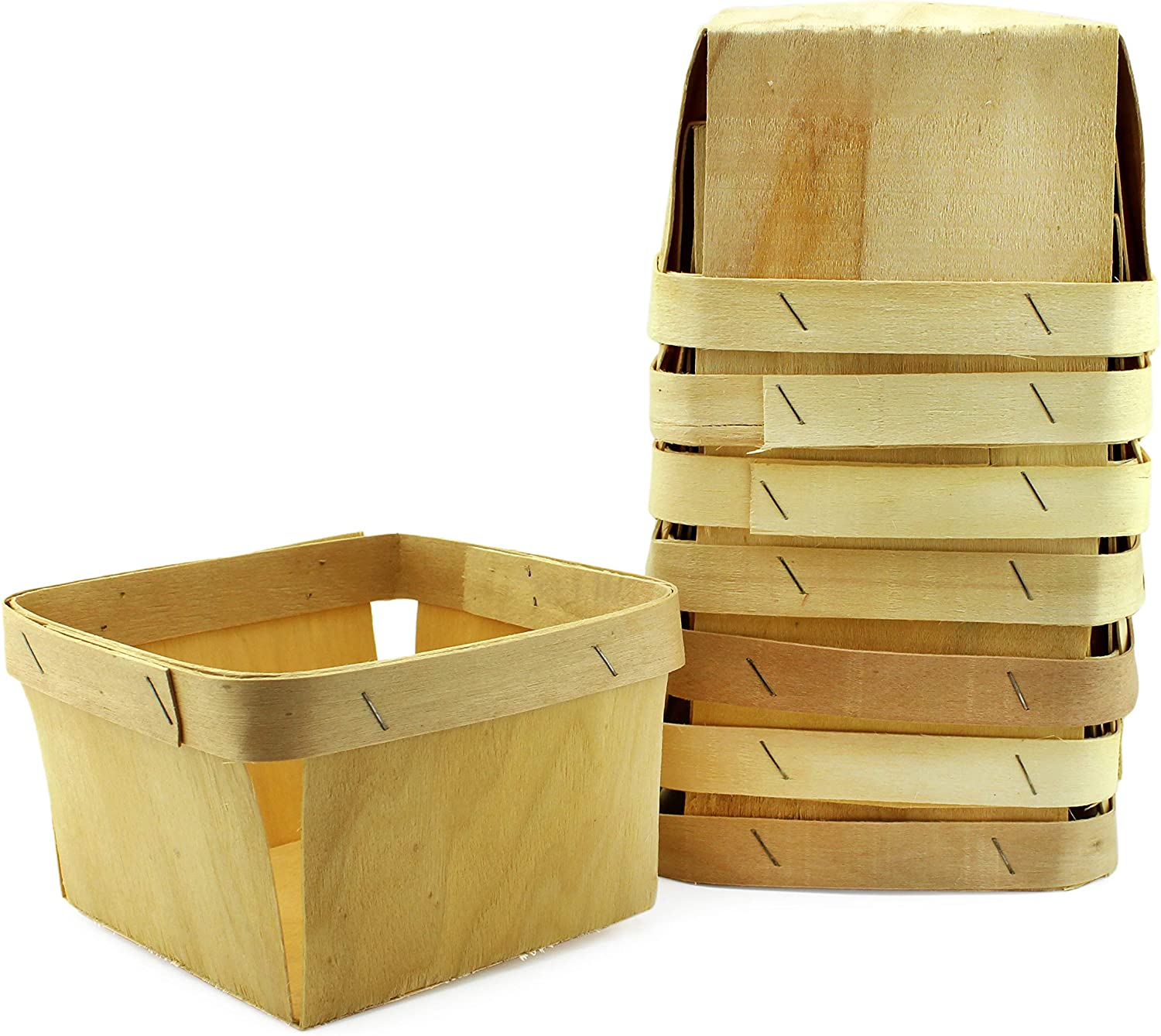 Cornucopia One Quart Wooden Berry Baskets (8-Pack); 5.75-Inch Square Vented Wood Boxes for Fruit Picking or Arts & Crafts