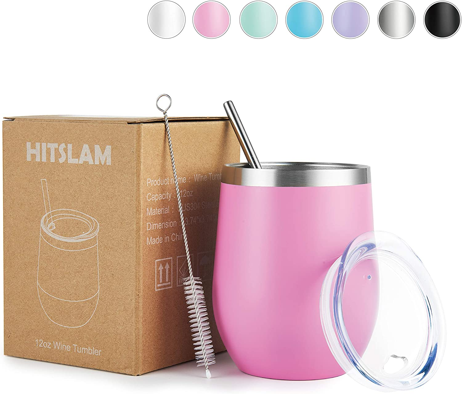 HITSLAM Wine Tumbler 12oz Stainless Steel Tumbler Vacuum Insulated Wine Glass Double Wall Coffee Mug for Champaign, Beer, Office use includes Straw Lid, Straw, Cleaning Brush (Pink)